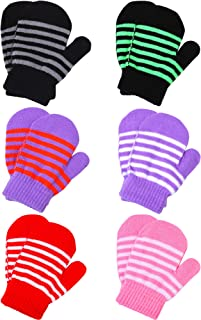 6 Pairs Toddler Baby Mittens Winter Warm Knitted Mittens Gloves for Boys or Girls