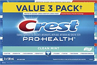 Crest Pro-Health Smooth Formula Toothpaste, Clean Mint Paste, 3 * 130 Ml