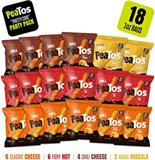 Peatos Crunchy Curls Snacks, Variety Snack Pack, 1 Ounce (18 Count), Junk Food Taste, Made from Peas, Bold Flavors, 4g Protein and 3g Fiber, Lunch Box Snacks (Packaging may Vary)