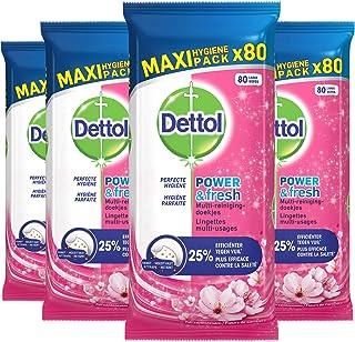 Dettol Power en Fresh MultiReinigingsdoekjes Kersenbloesem 4 x 80 Doekjes Grootverpakking
