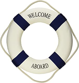 "Oliasports Welcome Aboard Cloth Life Ring Navy Accent Nautical Decor 13.5"" New.."