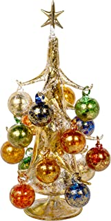 30cm Oro Multicolore Vintage Inspired Mini Glass Christmas Tree with 16 Removable Ornaments, BUON Natale Series