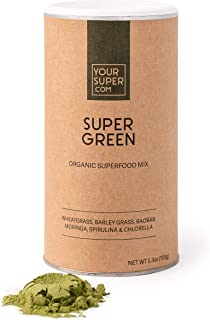 Your Super Super Green Mix - Plant Based Superfood Powder Blend, Supports Immune System - Wheatgrass, Barley Grass, Baobab...