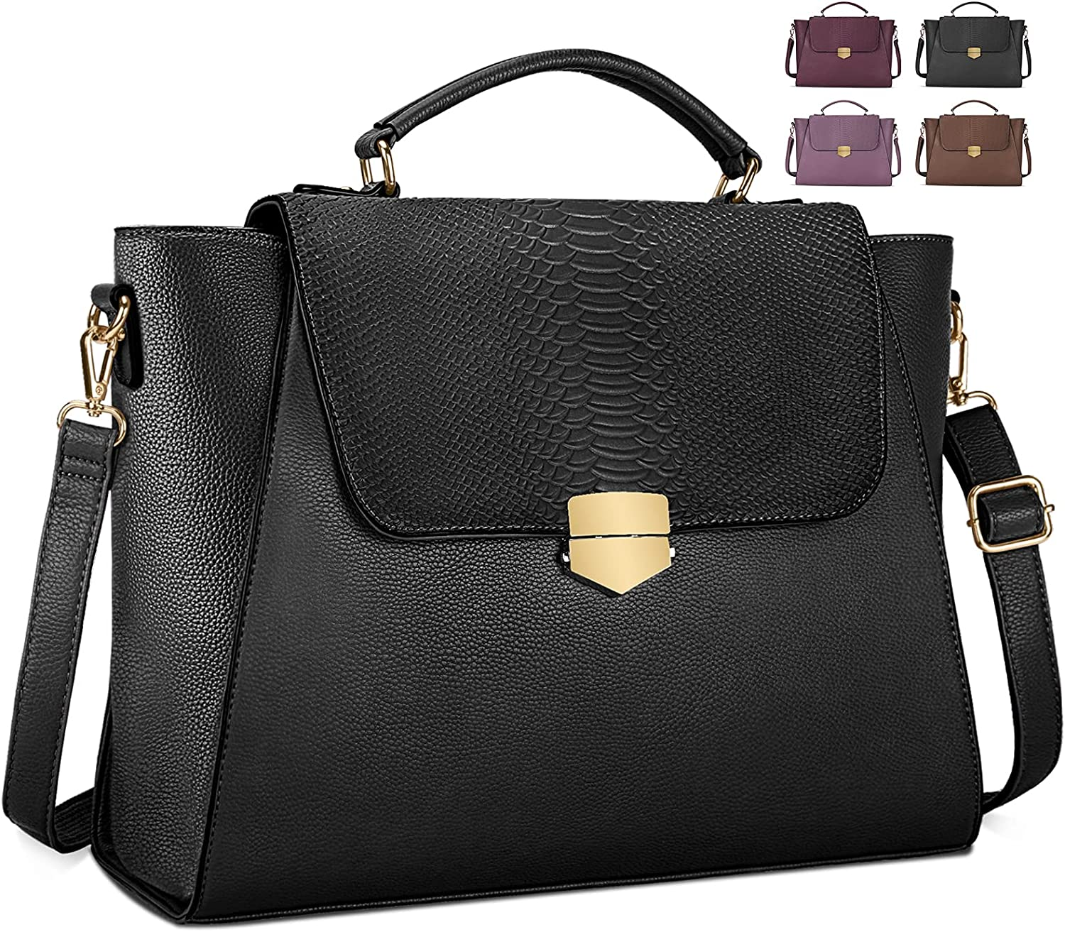 Laptop Bag for Women 15.6 Inch Briefcase Professional Messenger Bag Business Work Tote Bag Crossboby Shoulder Bag with Professional Padded Compartment for Office Travel College Black