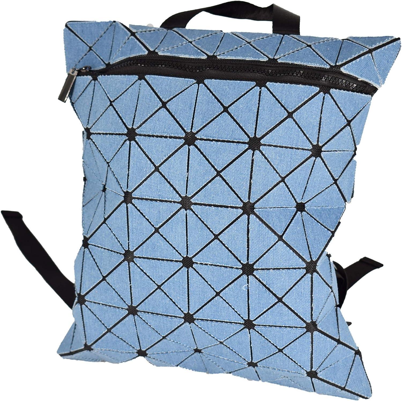 KAISIBO Fashion Geometric Backpack Lattice Holographic Reflective Backpacks for Women (Denim bluee)