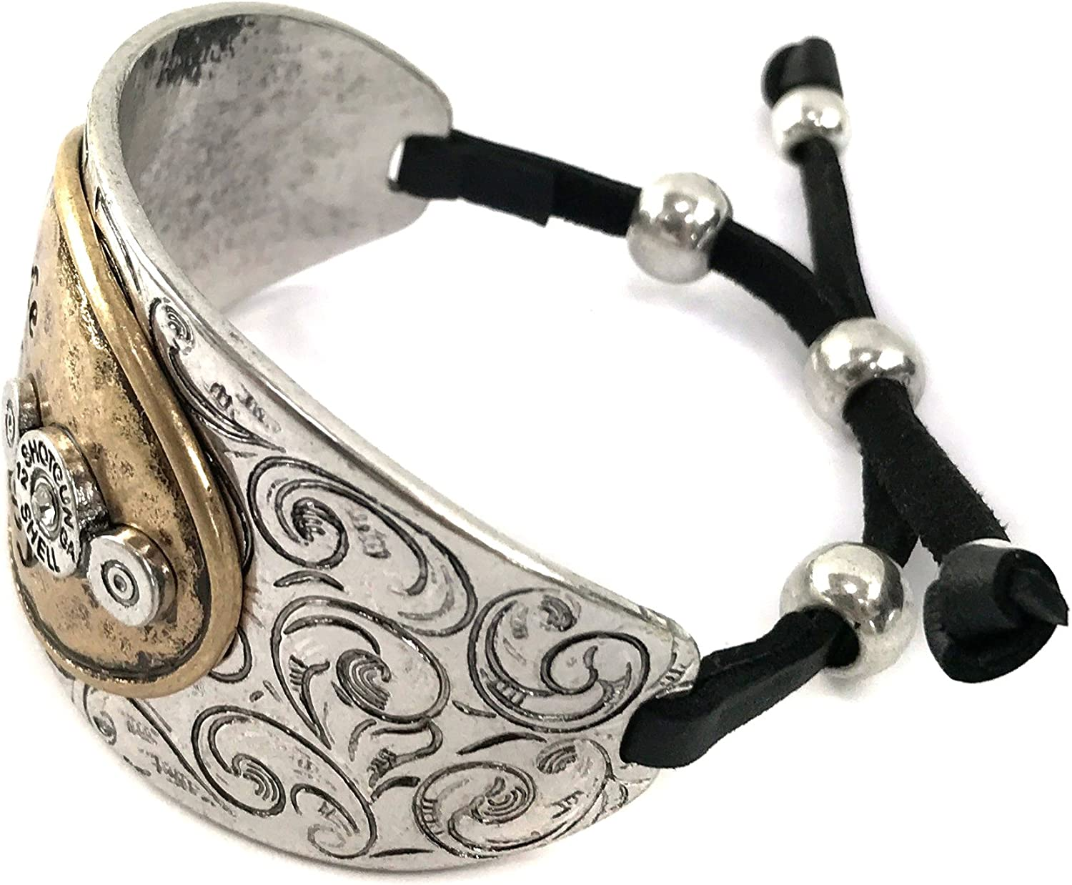 Western Peak Hammered Plate Hide Your Crazy Act Like a Lady 12 Gauge Shotgun Shell Leather Cuff Bracelet Necklace