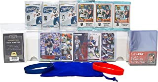 NFL Football Cards Gift Pack: 6 Factory Sealed Packs + Pick Your Team/Player + 25 Hard 100 Soft Cases + 800 ctbox Cowboys Steelers Patriots Chiefs Saints Bears Packers (Tom Brady - 5 card)