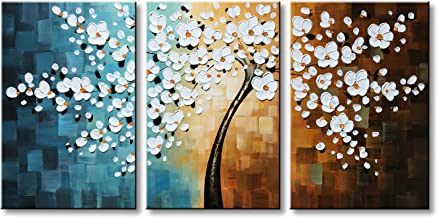 Winpeak Hand-Painted White Flower Oil Painting Modern Floral Canvas Wall Art Abstract Plum Blossom Artwork Stretched and Framed Ready to Hang