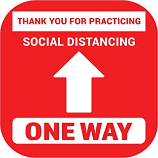 8 Pack 9 Inch Social Distancing Floor Sticker Decals - Professional Anti-Slip, Waterproof 6 Feet Social Distancing Floor Signs - Removable, for Hard Floors Or Carpet (Social Distance-One Way, 9 Inch)
