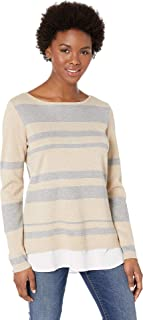 Womens Crew Neck Striped Twofer Sweater