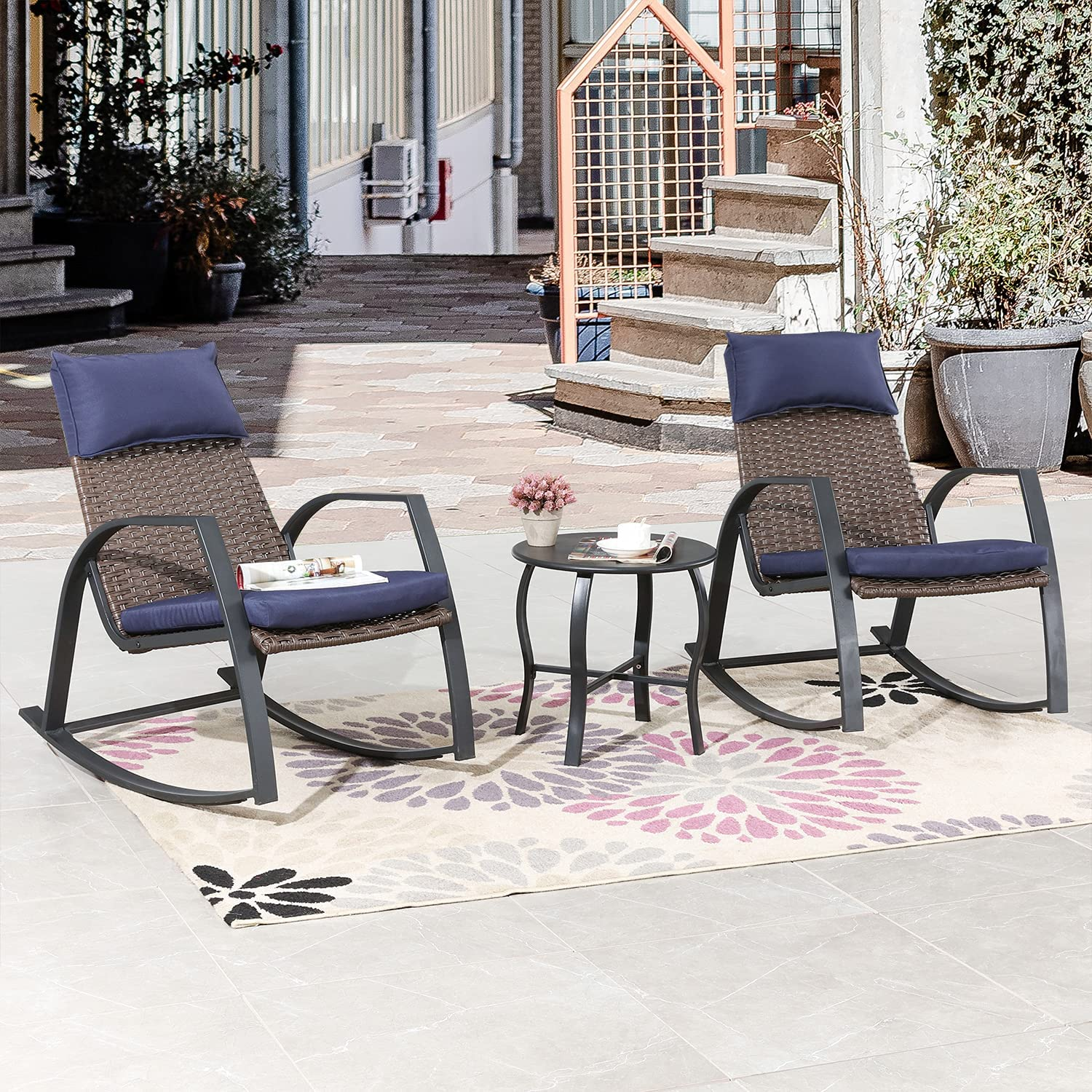 Romayard Patio Rocking Chairs Set Metal 3 Bistro Outdoor Genuine Free Easy-to-use Shipping Pieces