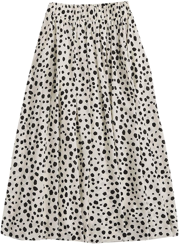 Milumia Women's Vintage Dalmatian Print A Line High Waist Flare Flowy Midi Skirts