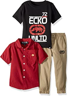 Ecko Boys' Short Sleeve Woven, T-Shirt, and Pant Set