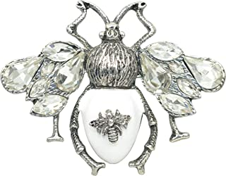 Gyn&Joy Clear Crystal Wing White Enamel Honey Bee Fly Insect Animal Brooch Pin BZ169