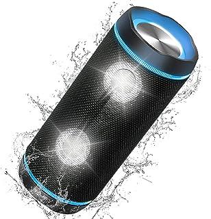 Bluetooth Lautsprecher IP67 Wasserdicht, 40W Kabelloser Bluetooth Box mit Stereo Sound, Max Bass, DSP, Buntem LED-Licht Tragbarer Musikbox, Bluetooth 5.0 Speaker für Outdoor und Party