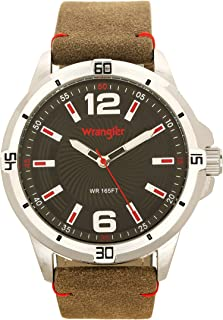 Wrangler Men's Watch, 48mm with Textured Dial, Polyurethane Band with Stitching, Water Resistant