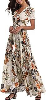 VintageClothing Women's Floral Maxi Dresses Boho Button...