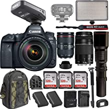 Canon EOS 6D Mark II DSLR w/Canon EF 24-105mm f/4L II USM, Canon EF 75-300mm Lens + RODELink Filmmaker Kit Wireless Omni Lavalier Microphone System + Professional Bi-Color LED Video Light & More
