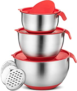 Klee 9-Piece Stainless Steel Non Slip Mixing Bowls with Silicone Base, Airtight Lids and Grater Attachments, Set of 3 (Red)
