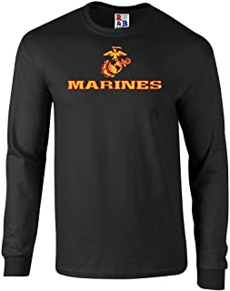 Fashion Greek US Marines Two Tone Logo Graphic Long Sleeve Officially Licensed T Shirt