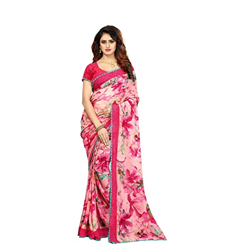 67fbc01c9e7 Vastrang Sarees Georgette Printed Saree With Blouse   Lace Border(A60004005 Free  Size)