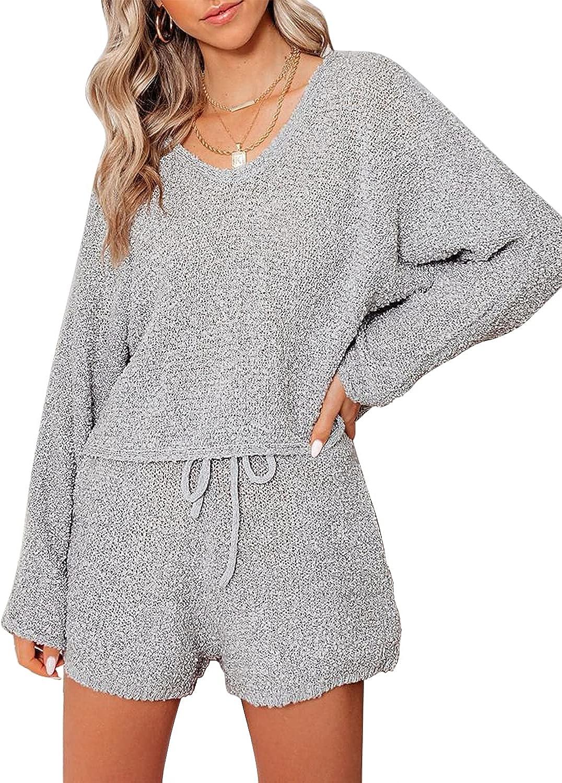luvamia Womens Casual Pajamas Knit Sweatsuits Long Sleeve Tops and Shorts Loungewear Sets