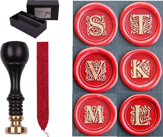 Retro-Stil klassisches Siegelwachs-Stempel-Set mit 3 Siegelwachs-St/äbchen und 1 Schmelzl/öffel und 2 wei/ßen Kerzen Hexint Siegelwachs-Stempel-Set mit Initialen und Buchstaben . Buchstabe J