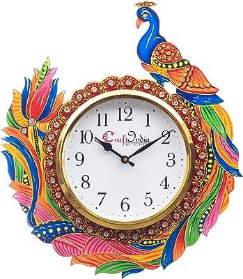 eCraftIndia Handicraft Peacock Analog Wall Clock(Red & Green, with Glass)