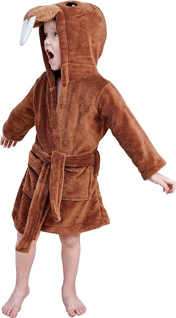 Longxing Toddler Bathrobes Boys Girls Robe Plush Soft Pajamas Sleepwear for Boys Girls (3-4 Years), Brown Walrus