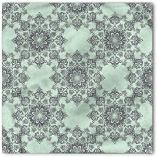 Grey and Mint Bandana, Baroque Damask Tile, Unisex Head and Neck Tie