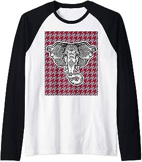 Houndstooth Alabama Crimson and Gray with Elephant Football Raglan Baseball Tee