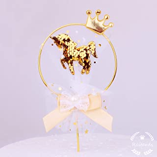 Restards Gold Unicorn Cake Topper Happy Birthday Party Decorations Supplies for Kids Baby Showers Wedding w/Lace
