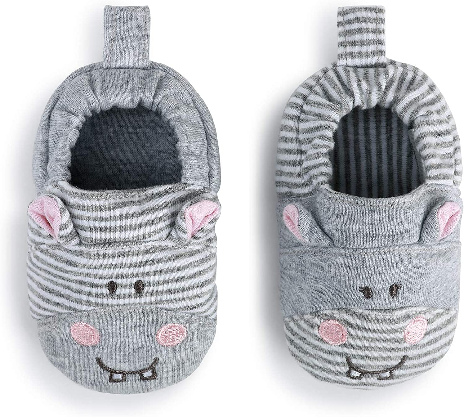 Hippo Grey Stripe 6-9 Months Cotton and Polyester Infant Bootie Socks