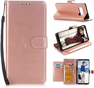 Samsung Galaxy Note 8 Case, SUMOON Fashion PU Leather Magnet Wallet Credit Card Holder Flip Case Cover with Built-in 5 Card Slots & Stand For Samsung Galaxy Note 8 2017 (Rosegold)