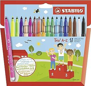 Feutre de coloriage - STABILO Trio A-Z - Étui carton x 18 feutres pointe moyenne - dont 3 couleurs fluo