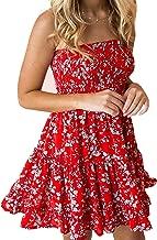 Murimia Womens Summer Strapless Off Shoulder Floral Print Beach Mini Dress