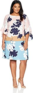 Women's Plus Size Color Block Abstract Floral CDC Shift Dress