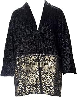 Marina Rinaldi Women's Navarra Velvet Embroidered Coat, Black
