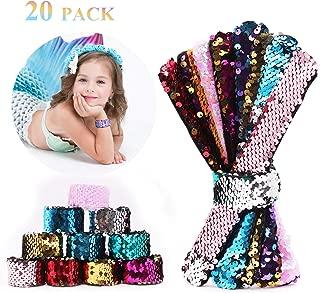 20 Pack Slap Bracelets 2-Color Reversible Charm Bracelets Children's Stage Sequins Horsetail Buckle Color Ball Head Hair Accessories Hair Accessories Magic Wristband for Kids,Girls,Boys,Women