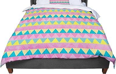 68 X 88 KESS InHouse Nandita Singh Christmas Celebration Teal Pink Twin Comforter
