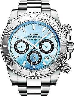 LOREO Mens Automatic Machine Multifunction Stainless Steel Sapphire Glass luminous Waterproof Watches