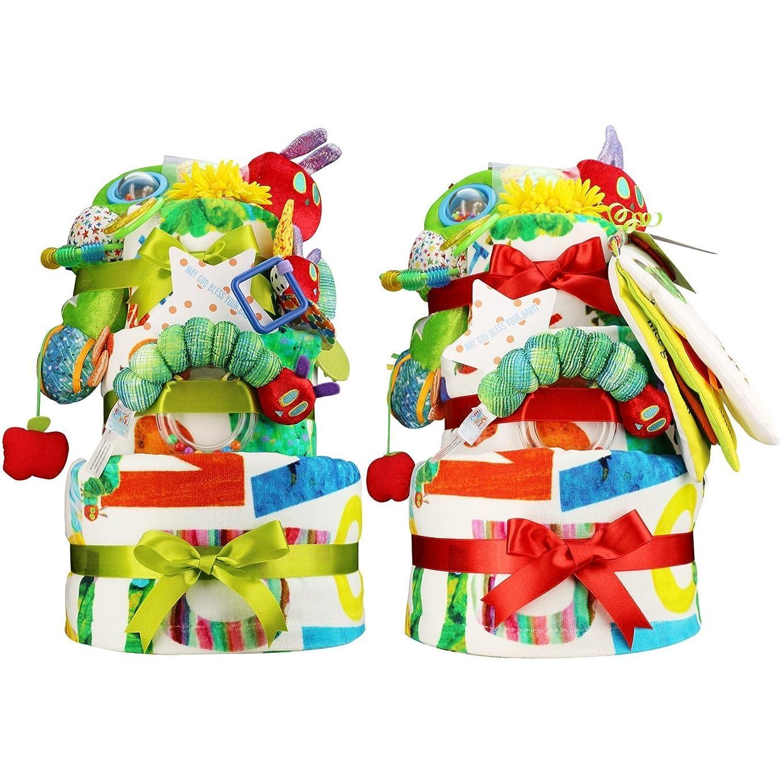 音声学無人成長はらぺこあおむし 出産祝い 超豪華3段 おむつケーキ ERIC CARLE エリックカール (パンパーステープタイプSサイズ, 男の子への贈り物)