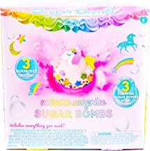 Sugar Bombs by Horizon Group USA, Design & Decorate 3 Unicorn Themed Fizzing Bombs.Fizz in Bowl to Revel Hidden Surprise Gift. Whipped Soap, Sprinkles, Surprise Gift & Bowl Included, Unicorn