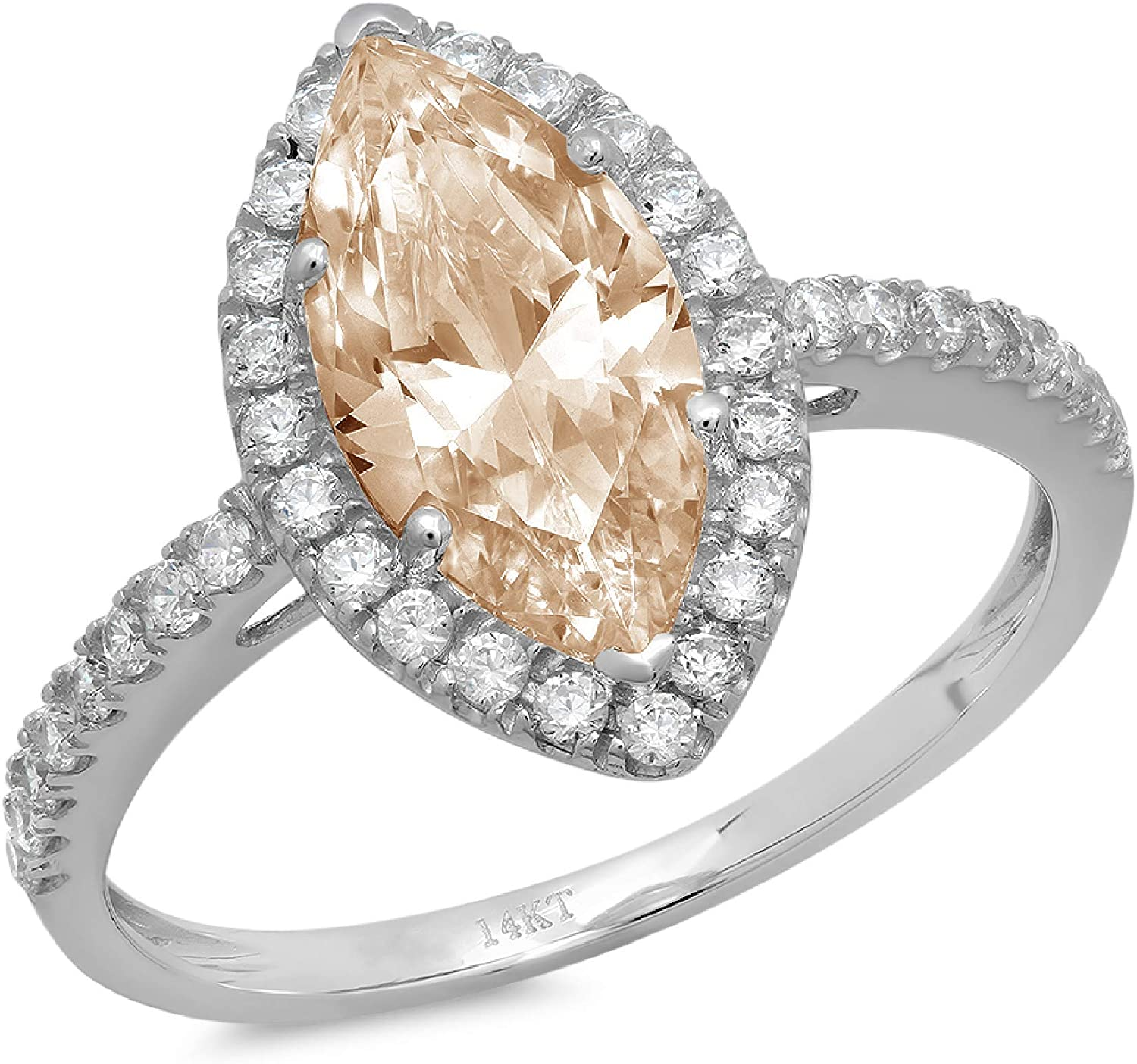 2.38ct Brilliant Marquise Cut Solitaire with Accent Halo Brown Champagne Simulated Diamond Ideal VVS1 Engagement Promise Anniversary Bridal Wedding Ring 14k White Gold