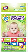 Mighty Clean Baby Disposable Placemat - Super Sticky Toddler and Infant Mat for Feeding on the Go, 24 Count Value Pack (6 packages of 4 placemats each)