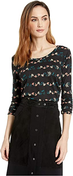 3/4 Sleeve Placed Floral Tee