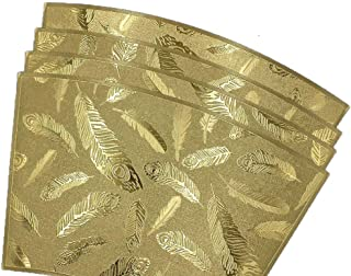 ELDETU Premium PVC Sector Placemat Feather Printing Series Waterproof Placemat Washable Table Mats Easy to Clean for Dining Room Kitchen Outdoor Restaurants Hotel Office Set of 4,Gold