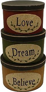 CVHOMEDECO. Juego de 3 cajas de cartón ovaladas para nido con texto en inglés «Love Dream Believe Collectibles» tamaño gr...