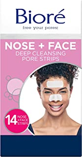 Bioré Nose+Face, Deep Cleansing Pore Strips, 7 Nose + 7 Chin or Forehead, with Instant Blackhead Removal and Pore Uncloggi...