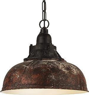 Lámpara colgante EGLO GRANTHAM 1, lámpara de suspensión vintage con 1 bombilla de estilo industrial, lámpara suspendida retro de acero y plástico, color: marrón antiguo, negro, casquillo: E27